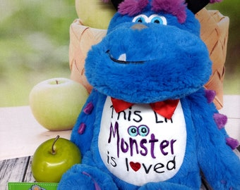 Monster stuffed animal stuffie plush plushie custom embroidered & personalized tummy. Baby, birth announcement, Graduation, Get well