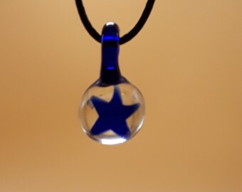Blue Star - Handmade Glass Pendent