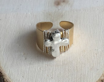 Ring, handmade ring, expandable ring, cross ring, silver cross, copper ring, gifts for her,