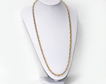 VINTAGE Gold Tone Metal Textured Long Chain Necklace