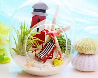 Lighthouse Beach Vacation Terrarium Kit ~ Small Bullet Shape Air Plant Terrarium Kit ~ ecor ~ Beach Chair + Umbrella + Bucket ~ Gift