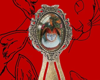 Bookmark cabochon with cat: cat dressed in jester