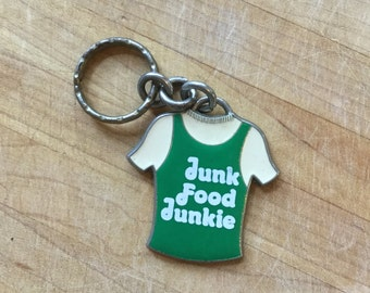 Vintage Junk Food Junkie T Shirt Key Chain