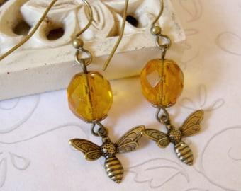 Honey Bee Earrings, amber beads, faceted glass dangles, drop earrings, brass bee charms