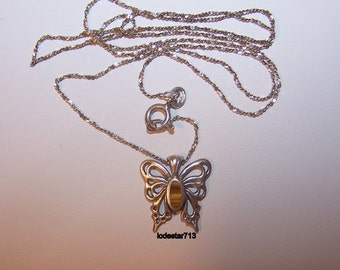 Butterfly Necklace, Butterfly Jewelry, Butterfly with Tiger Eye, Sterling Chain,