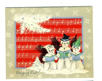 Vintage Christmas Greeting Card  Singing Out Snowman Snowmen Family Singing Unused Happy New Year Greeting 50s
