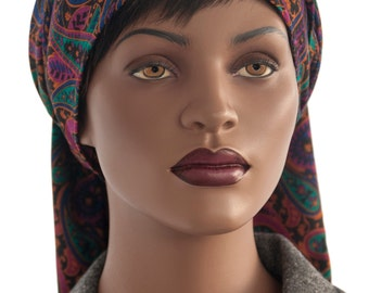 Paisley Triangle Scarf Multi Colored Head Wrap Tichel Scarf Hijab Scarf Handmade