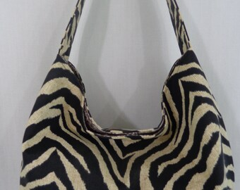 Slouchy BAG, Slouch Shoulder Purse, Small Hobo, Boho, Sling Bag, Tiger Print, Black and Tan