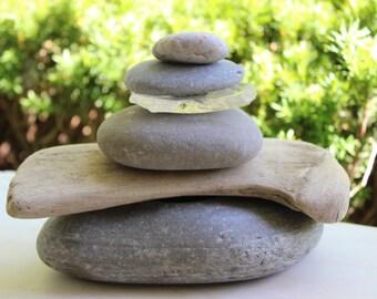 Stone , Seaglass and Driftwood Sculpture / Cairn , Zen Decor , Natural Art , Rock Art