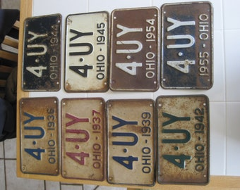 Your Choice!!  Ohio License Plate 1930's - 1950's 4 UY