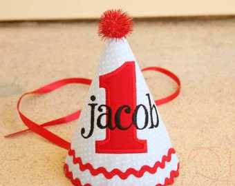 1st Birthday Hat - Classic blue and white dots with red and navy accents - Free personalization