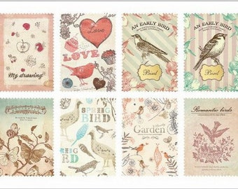 Retro Stamp Sticker Set - ver. 1- 08 Natural - 2 Sheets - 16 Pcs