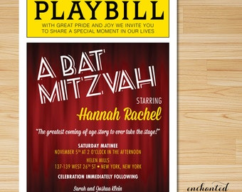Bat mitzvah invite etsy broadway bat mitzvah or bar mitzvah playbill invitations with reply card theater themed broadway themed printed invitations solutioingenieria Gallery