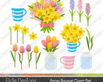 Spring Bouquet Clipart set - instant download