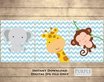 Giraffe Monkey Elephant Nursery Wall Art Chevron BABY BLUE Nursery Room Decor Printable Wall art Jungle Animals Set Digital JPEG File 119