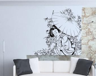 Vinyl Wall Decal Sticker Geisha In Garden 1496m