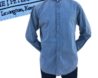 Vintage J. Peterman Cotton Collarless Shirt — M