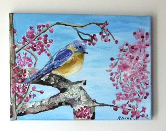 Art,&Collectibles, Painting, Acrylic, Fine Art, Wrapped Canvas, Mr Bluebird,12x9 inches