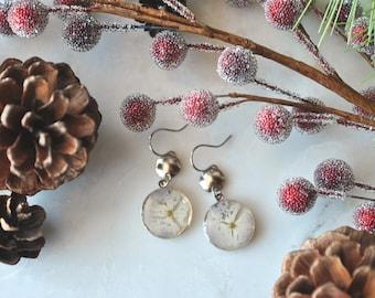 Silver Hydrangea Earrings, Pressed Flower Jewelry, Botanical Jewelry