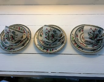 Three Vintage Indian Tree cups saucers and side plates by Johnson Brothers c1970