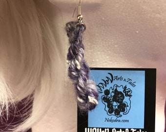 Handspun Mini Skein Earrings | Snowy Lavander | BFL, Kid Mohair, Recycled Soda Rings, Recycled Sari Silk, Mulkberry Silk, Angelina