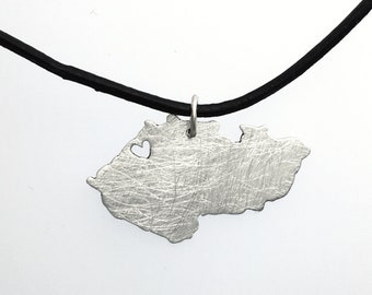 Czech Map with Heart Czechia Pendant Personalized Czech Republic Necklace Sterling Silver 935 in a kraft gift box with an Extra Free