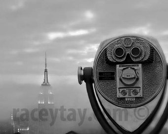 Travel Gift, Black and White New York Photography, Empire State Building in fog, New York Skyline