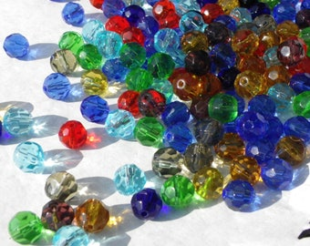 100 beads 8 mm faceted crystal glass mix of colors