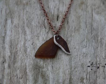 Seaglass and seapottery neckalce