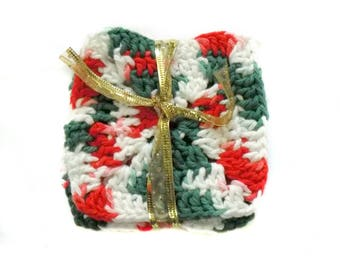 Crochet Christmas Coasters | Mug Rug | Drink Coaster | Holiday Decor | Christmas Decor | Kitchen Decor | Kitchen Accents | Stocking Stuffers