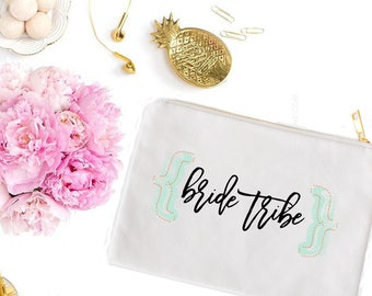 Handwritten Bride Tribe Cosmetic Bag - Cute Makeup Pouch - Swag Bag - Coin Purse - Wedding Favor