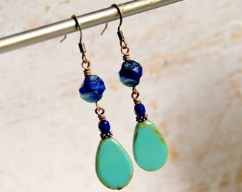 blue drop earrings, boho jewelry, dangle earrings, gift for her, beaded earrings, under 20
