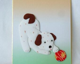 RJ147 Oshie craft,Oshi-e art board,Japanese paper/fabric Oshie/Kurumie on a shikishi board,Paper/fabric Art Craft ,marked,Hand made in Japan