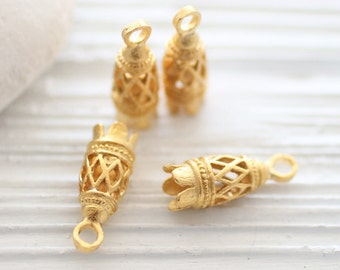2pc filigree tassel caps, gold filigree bead cap, bead cones, end caps, unique cones, thin long tassel cap, ornate tassel cap, gold end caps