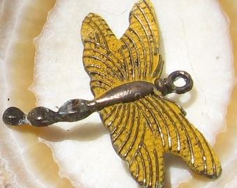 DRAGONFLY pendant , yellow ochre patina 2 pc