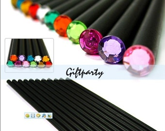 Lot of 12 Pcs Pencil Hb Diamond Color Pencil Stationery Drawing Cute Pencils For School Basswood Office School Black with Diamond end