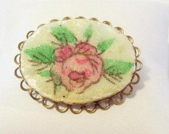 SALE. Vintage jewelry ROSE Flower brooch