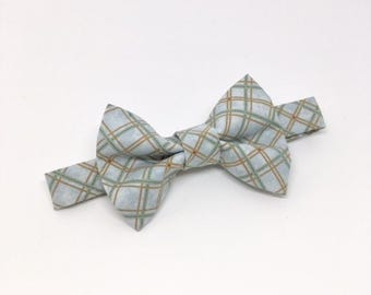 Light Blue Plaid Bow Tie // Plaid Boy's Bow Tie // Plaid Toddler Bow Tie // Plaid Baby Bow Tie // Trendy Plaid Bow Tie