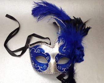 Silver Blue masquerade mask with feather flower Christmas New Year Party