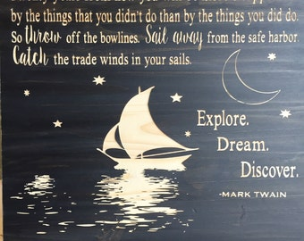 Wood sign- Explore. Dream. Discover. (CNC Carved)
