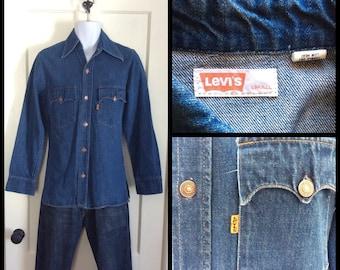 Vintage 1970's Levi's Denim Mens Shirt Jacket size Small Orange Tab