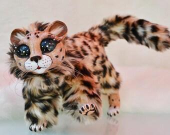 Baby Cheetah, fashion Art Doll, jointed, animal fur, BJD doll, resin, ocelot cat