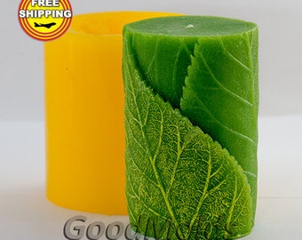 Cylinder with leaves 3D mold soap mold silicone molds mold for soap mold candle mold silicone mold Flower mold free shipping