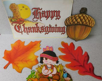 Vintage Beistle Fall and Thanksgiving Decorations, Die Cut Decoration Assortment, Leaves, Acorn, Happy Thanksgiving, Indian, Native American