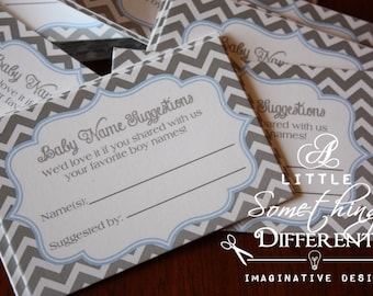 Baby Name Suggestion Cards / Gray / Grey / Blue / Chevron / White / Boy / Games / Baby Shower / Insert / Sprinkle / Gender Reveal
