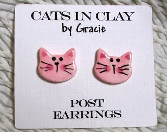 Pink Kitty Post Earrings Stud Earring Handmade In Kiln Fired Clay by Gracie