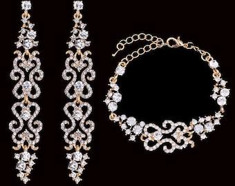 Wedding jewelry set, Bridal Earrings Bracelet, Bridal Jewelry Set, Gold Plated CZ crystal earrings, Vintage inspired earrings bracelet set
