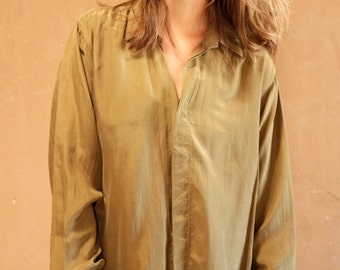 Olive Green vintage SILK 90s SHEER OVERSIZE slouchy boxy yellow blouse