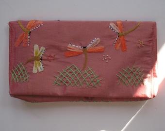 EMBROIDERED pink silk clutch wallet