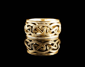 DROGHEDA Celtic Knot Wedding Band Open Weave in Antique 14KT Yellow Gold